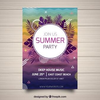 Flyer fête d'été avec des éléments tropicaux
