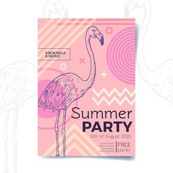 Flyer fête d'été avec flamant rose