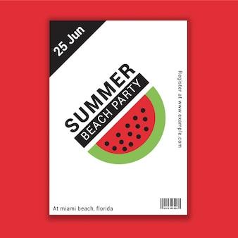Flyer de fête d'été sur la plage avec motif de pastèque