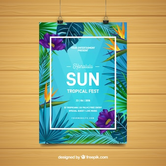 Flyer fête d'été avec des plantes tropicales