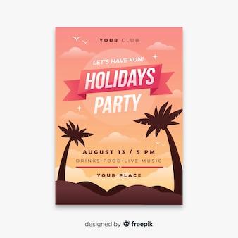 Flyer fête d'été plat tropical