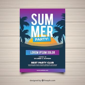 Flyer fête d'été avec la silhouette des palmiers