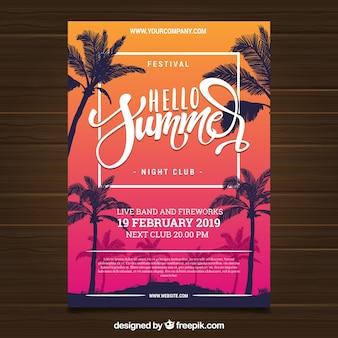 Flyer de fête d'été tropical