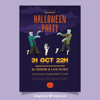 Flyer de fête de halloween avec des zombies