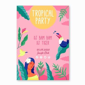 Flyer de fête modèle tropical