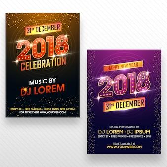 Flyer de fête de nouvel an, bannière ou conception d'affiche en deux options de couleur.
