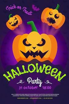 Flyer de fête de nuit d'halloween, citrouilles.affiche pour votre fête.