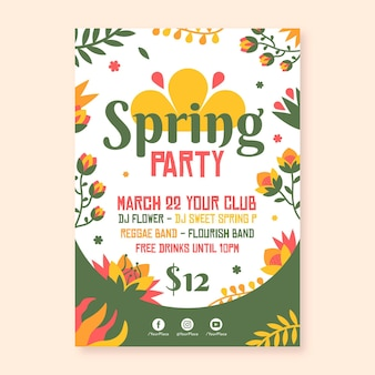 Flyer de fête de printemps plat