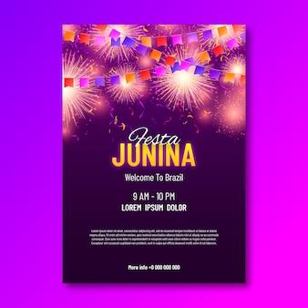 Flyer de fête réaliste festa junina
