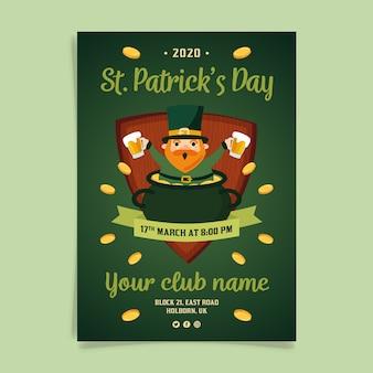Flyer de fête de la saint patrick dessiné à la main