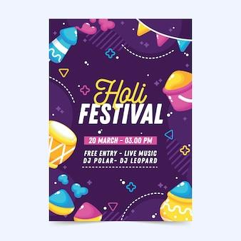 Flyer de fête de vacances holi avec effet memphis et poudre de peinture