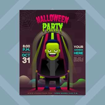Flyer d'halloween en dégradé