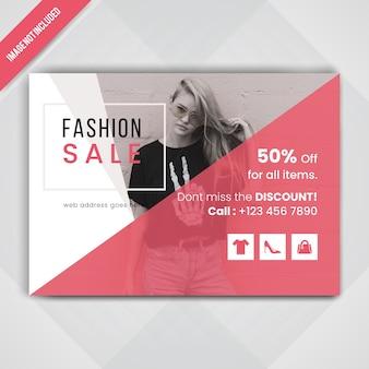 Flyer horizontal de vente de mode