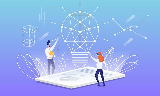 Flyer idea building avec le dessin animé de réalité virtuelle.