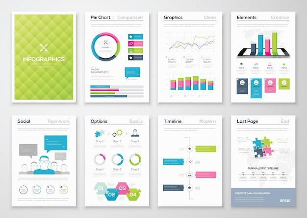 Flyer infographies et modèles de brochures illustrations vectorielles