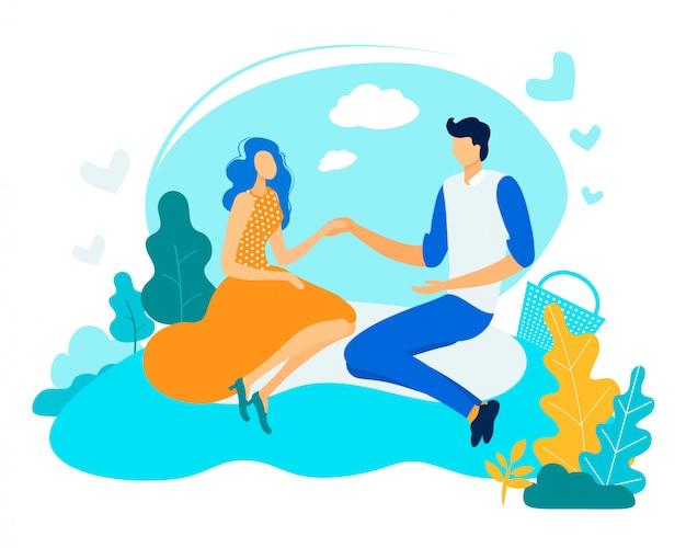Flyer informatif homme avec femme sur plat de pique-nique.