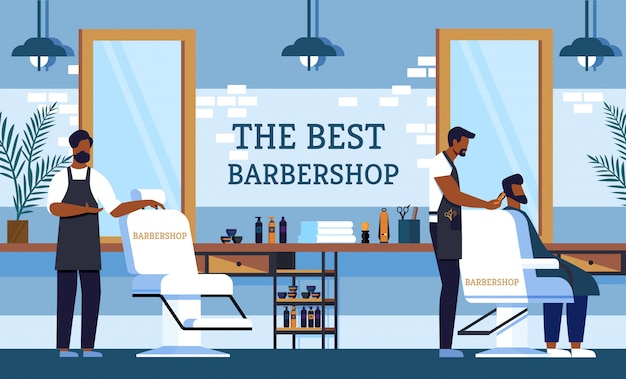Flyer invitation barber au meilleur salon de coiffure.