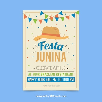 Flyer invitation festa junina avec chapeau traditionnel