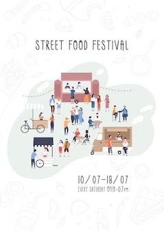 Flyer, invitation ou modèle d'affiche pour le festival de la cuisine de rue d'été avec des gens qui marchent entre les fourgonnettes ou les traiteurs, achètent des repas, mangent et boivent.