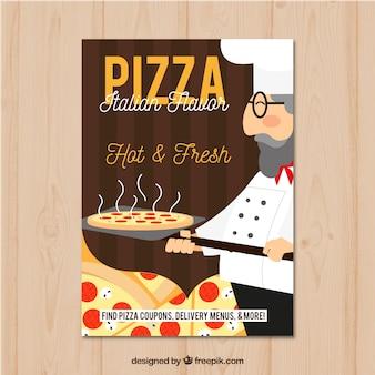 Flyer italien traditionnel pour pizza