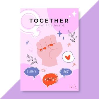 Flyer de la journée des femmes colorées doodle