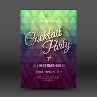 Flyer leaflet retro design template cocktail party