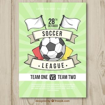 Flyer de ligue de football en style dessiné à la main