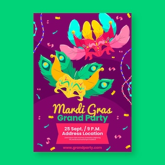 Flyer mardi gras dessiné à la main