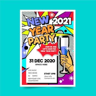 Flyer de modèle de fête design plat nouvel an 2021