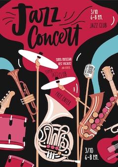 Flyer ou modèle d'invitation pour une performance de musique jazz ou un concert avec des instruments de musique et un lettrage élégant.