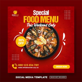 Flyer ou modèle de menu spécial sur le thème de la publication sur les médias sociaux