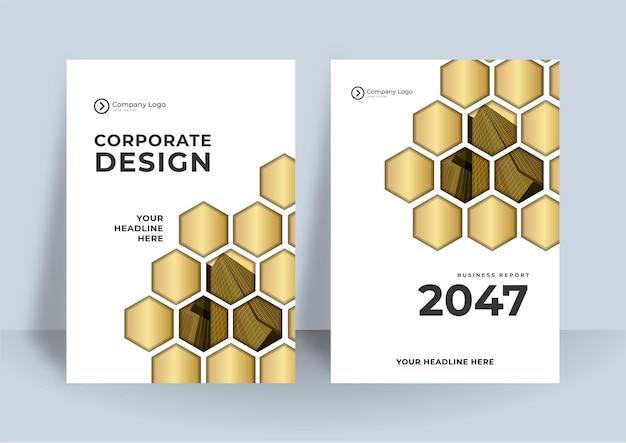 Flyer modèle de mise en page de conception de couverture en or noir pour les entreprises.