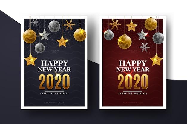 Flyer de nouvel an réaliste