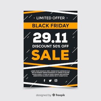 Flyer de l'offre limitée black friday au design plat