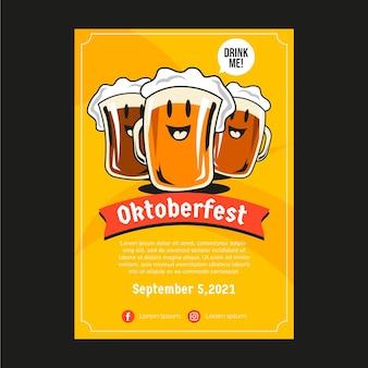 Flyer oktoberfest de style dessiné à la main