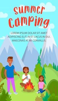 Flyer plat de camp d'été avec lettrage, fond.