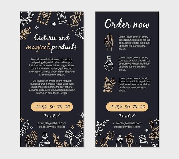 Flyer pour une boutique de magie et de sorcellerie avec des objets ésotériques