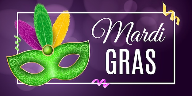 Flyer pour le carnaval du mardi gras. masque luxueux avec des plumes colorées.