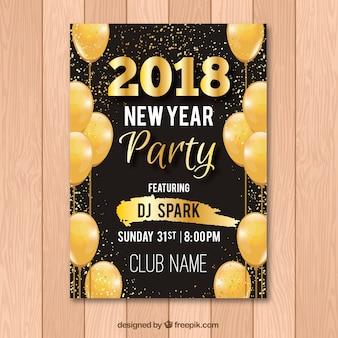 Flyer pour la fête du nouvel an avec des ballons d'or