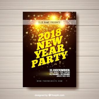 Flyer pour la fête du nouvel an avec des feux d'artifice d'or