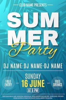 Flyer pour la fête d'été. bannière de texte avec des lumières lumineuses volantes. fond bleu avec motif de palmiers. soirée dansante.