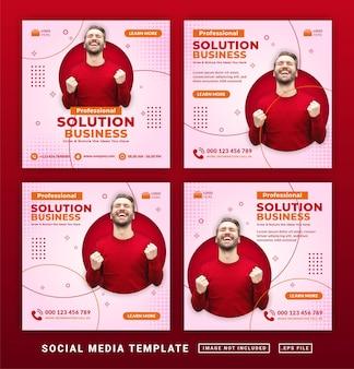 Flyer ou publication sur les réseaux sociaux modèle d'entreprise de solution professionnelle sur le thème