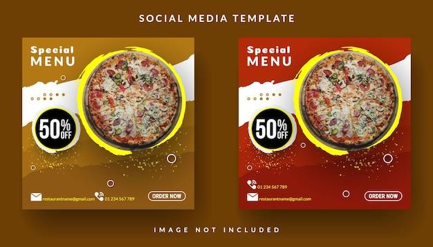 Flyer ou publication sur les réseaux sociaux avec de la nourriture à thème