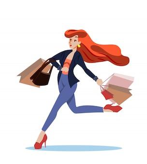 Flyer publicitaire shopping girl runs cartoon.