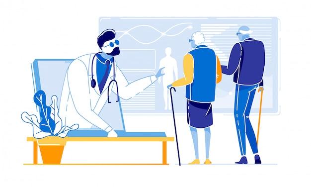 Flyer de publicité medical research elderly flat flat