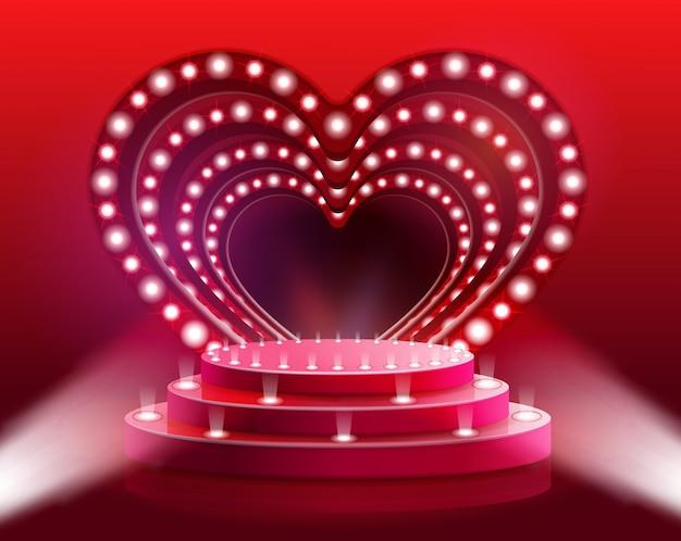 Flyer rougeoyant illustration de vecteur de scène de coeur.