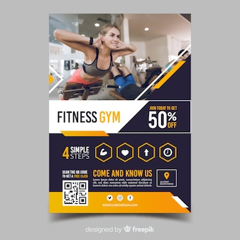 Flyer de sport modèle fitness gym