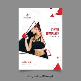 Flyer de sport de modèle avec image