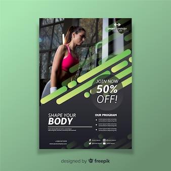 Flyer de sport de modèle avec photo