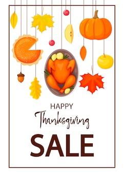 Flyer de thanksgiving isolé sur fond blanc illustration vectorielle